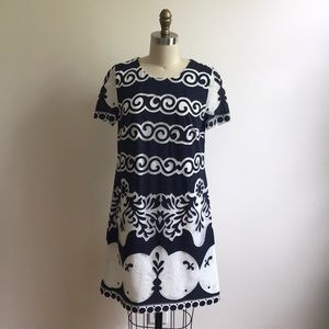 J.Crew Navy and White Shift Dress - Size 2